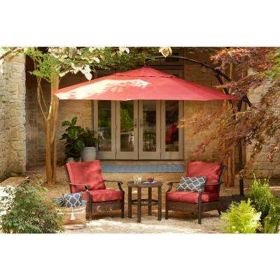 8 ft. x 8 ft. Square Aluminum Cantilever Offset Patio Umbrella in Chili