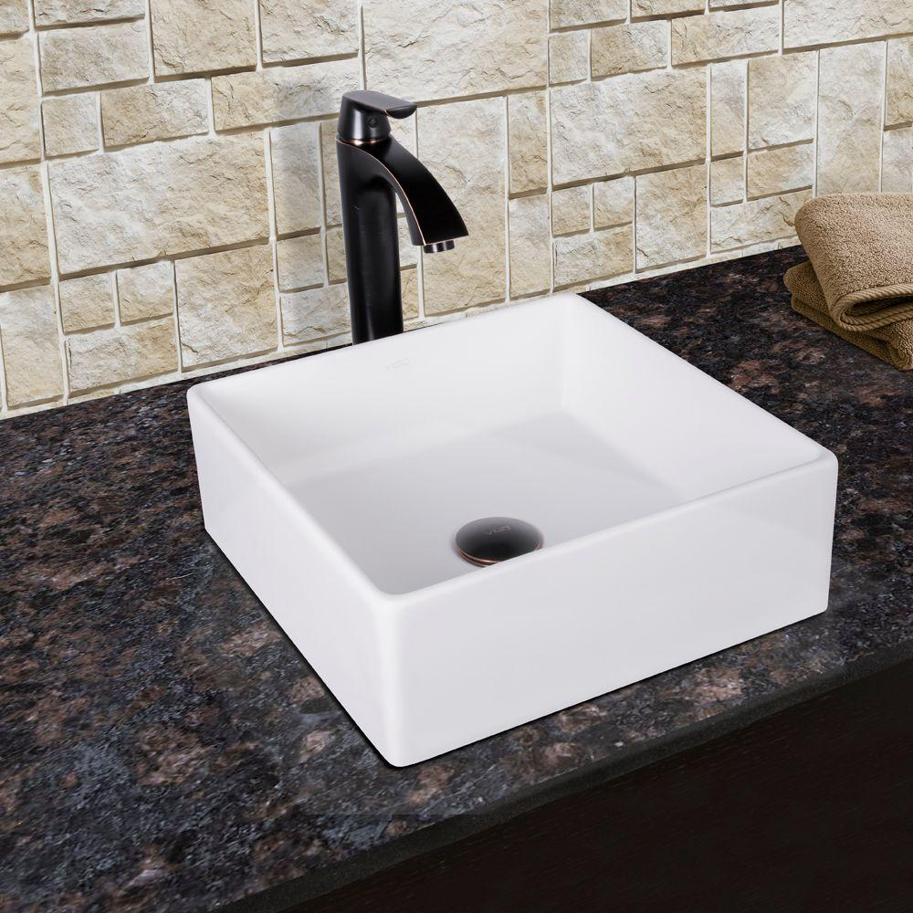 VIGO Dianthus Matte Stone Vessel Sink and Titus Antique Rubbed ...
