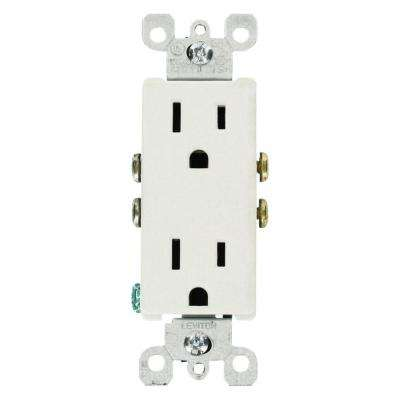 Decora 15 Amp Residential Grade Grounding Duplex Outlet, White (10-Pack)