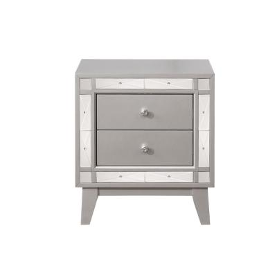 Leighton 2-Drawer Nightstand with Mirrored Panel Accents Metallic Mercury