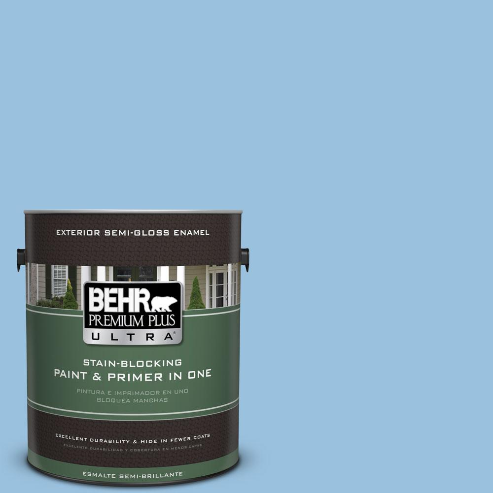 BEHR Premium Plus Ultra 1-gal. #M520-3 Charismatic Sky Semi-Gloss Enamel Exterior Paint