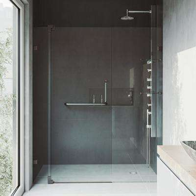 Pirouette 48 to 54 in. x 72 in. Frameless Pivot Shower Door in Antique Rubbed Bronze with Clear Glass and Handle