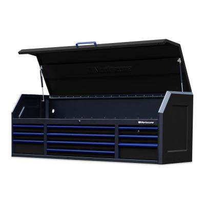 72 in. x 20 in. 10-Drawer Top Tool Chest in Black with Blue Trim