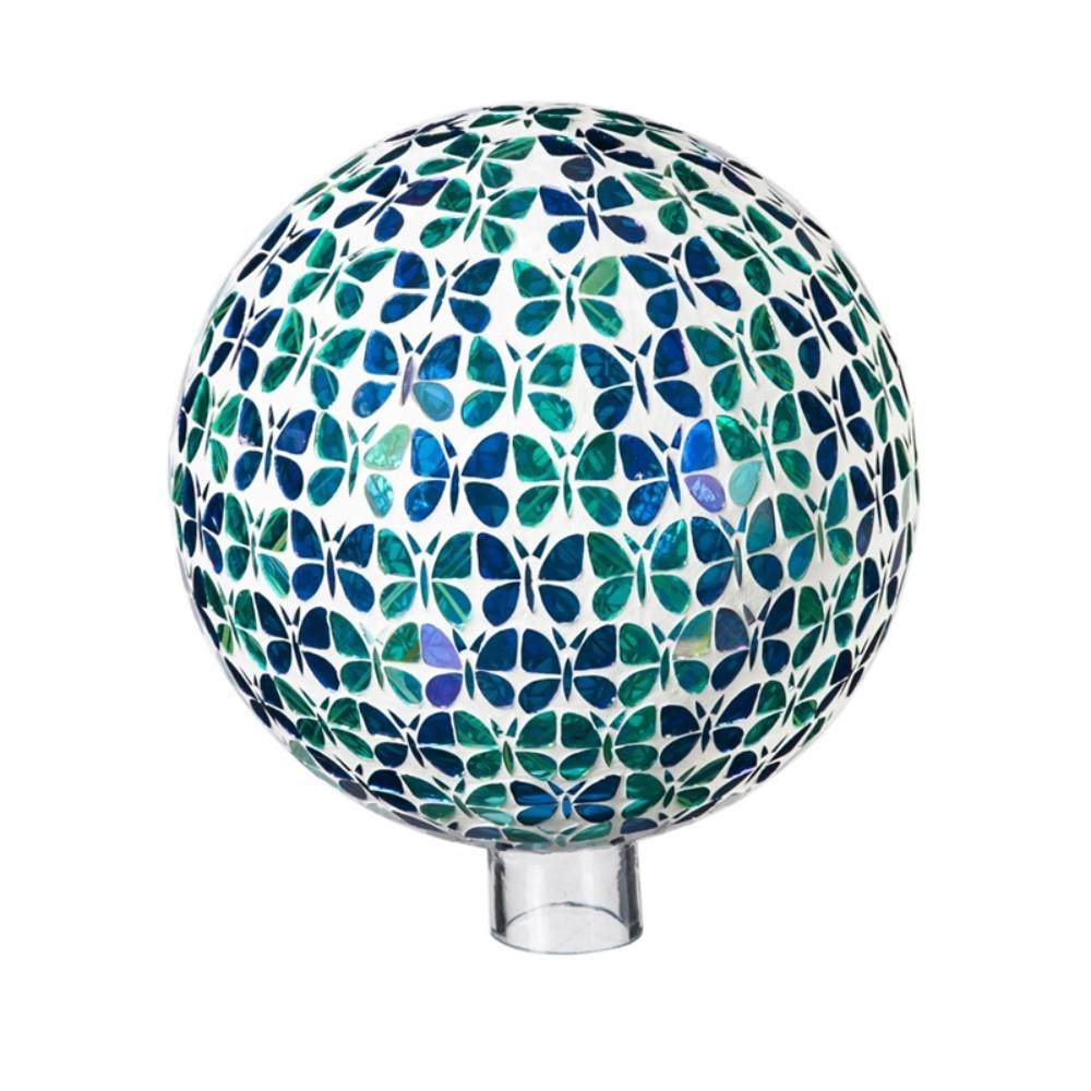 Evergreen Garden 10 in. Blue and Green Mosaic Butterflies Gazing Ball This gazing ball will look great in your home or garden. Made of glass, it is safe for indoor or outdoor use. Approximately 10 in. Dia.