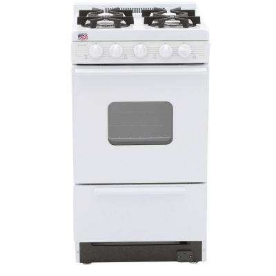 20 in. 2.42 cu. ft. Battery Spark Ignition Gas Range in White