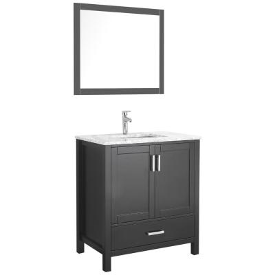 Amaya 30 in. Bathroom Vanity in Espresso with Marble Vanity Top in Cararra White with White Ceramic Basin and Mirror