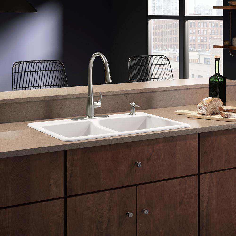 Kohler Brookfield Drop In Cast Iron 33 4 Hole Double Bowl Kitchen Sink With Simplice Faucet White