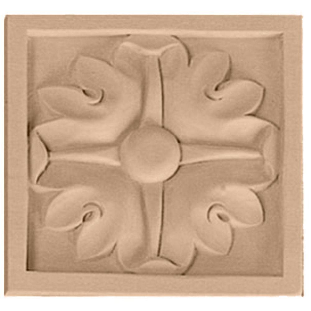 5/8 in. x 3 in. x 3 in. Unfinished Wood Cherry Small Edinburgh Rosette