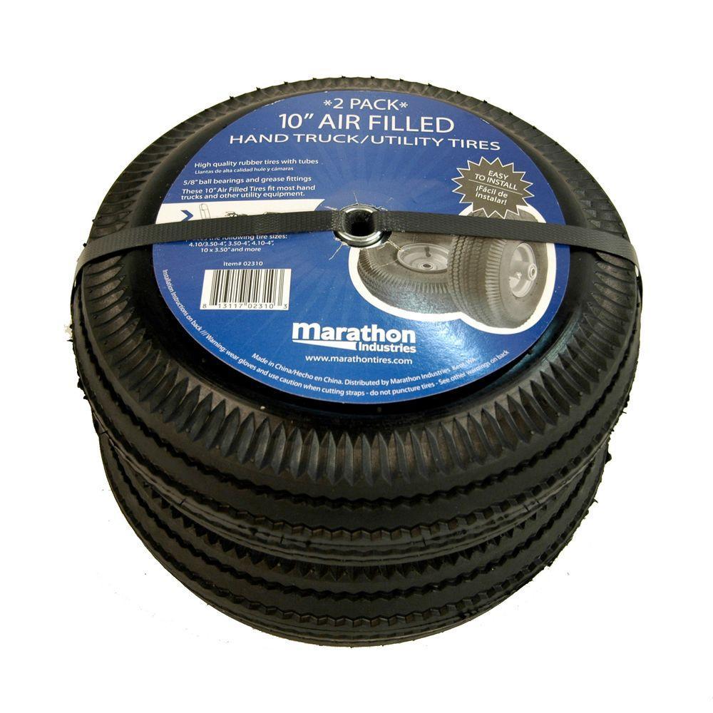 Truck Wheels And Tires >> Marathon Pneumatic Hand Truck Wheels 2 Pack 02310 The Home Depot