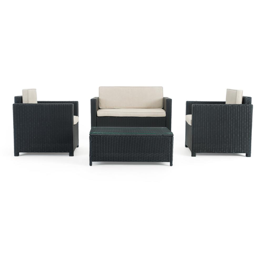 Sego Lily Boulder Black 4 Piece Wicker Patio Conversation Set With Beige Cushions