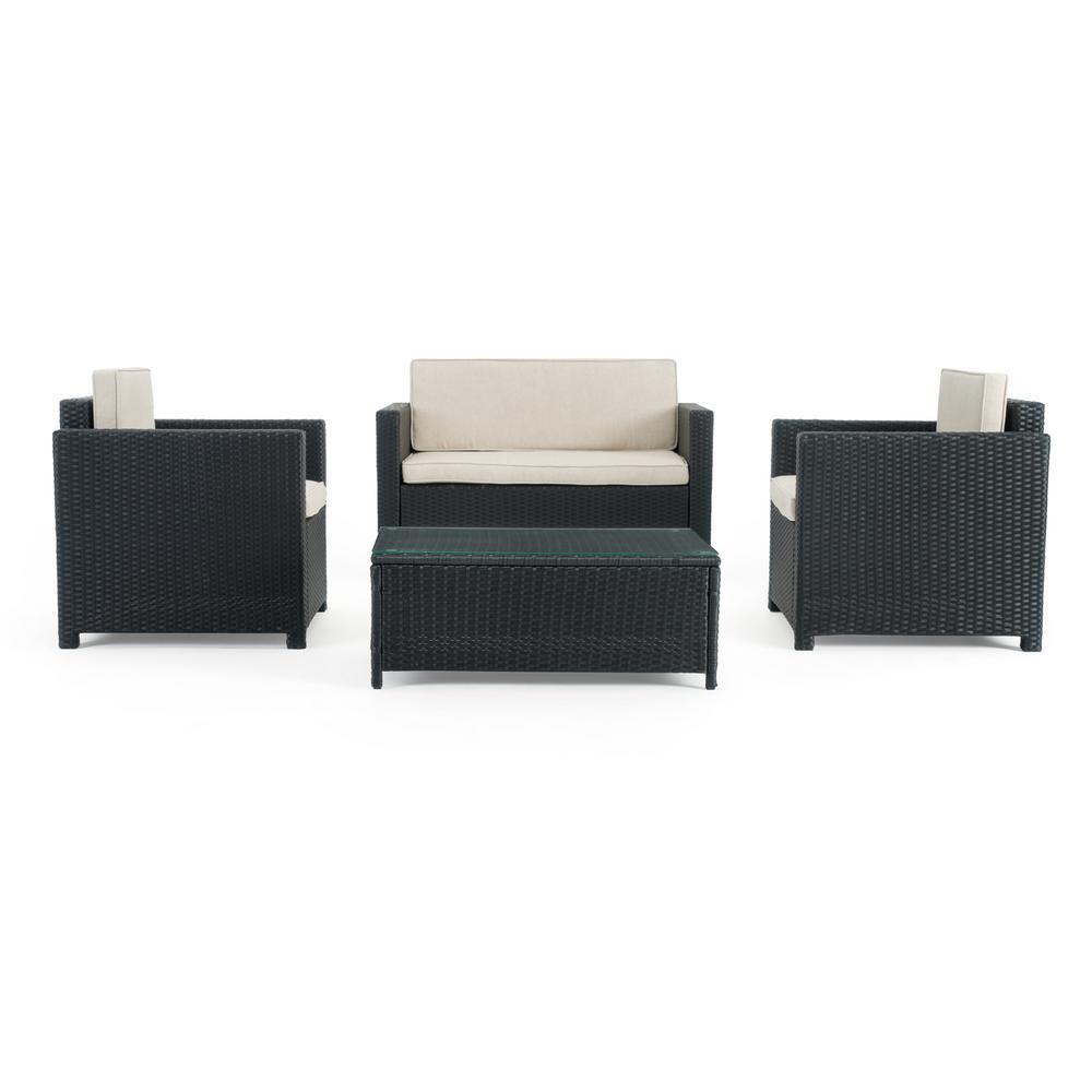 Boulder Black 4-Piece Wicker Patio Conversation Set with Beige Cushions