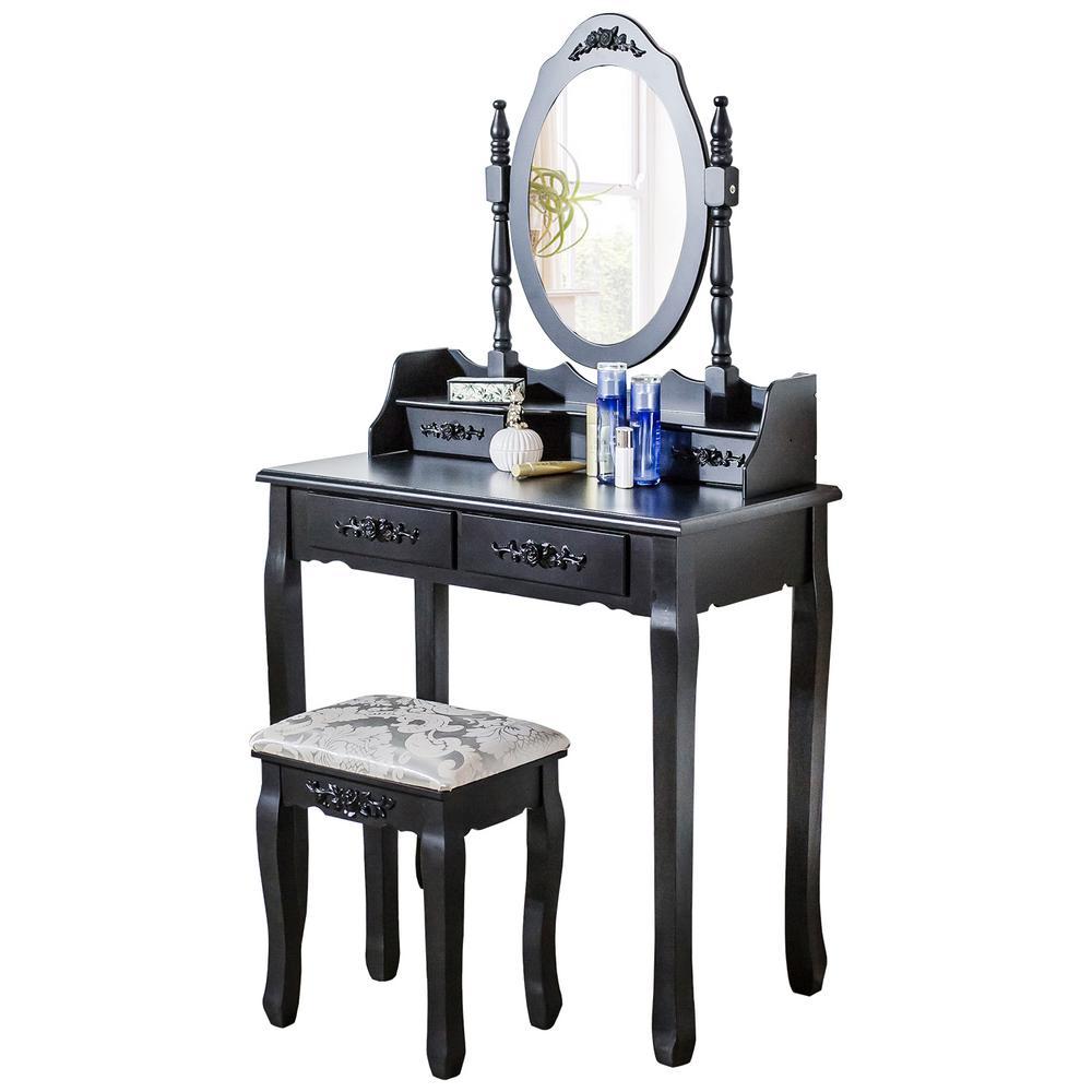 Boyel Living Cushioned Stools Black Big Mirror and 4-Drawers ...