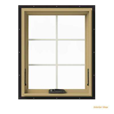 24 in. x 30 in. W-2500 Series Black Painted Clad Wood Awning Window w/ Natural Interior and Screen