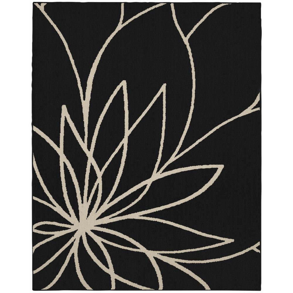 Grand Floral 8 ft. x 10 ft. Area Rug Black/Ivory