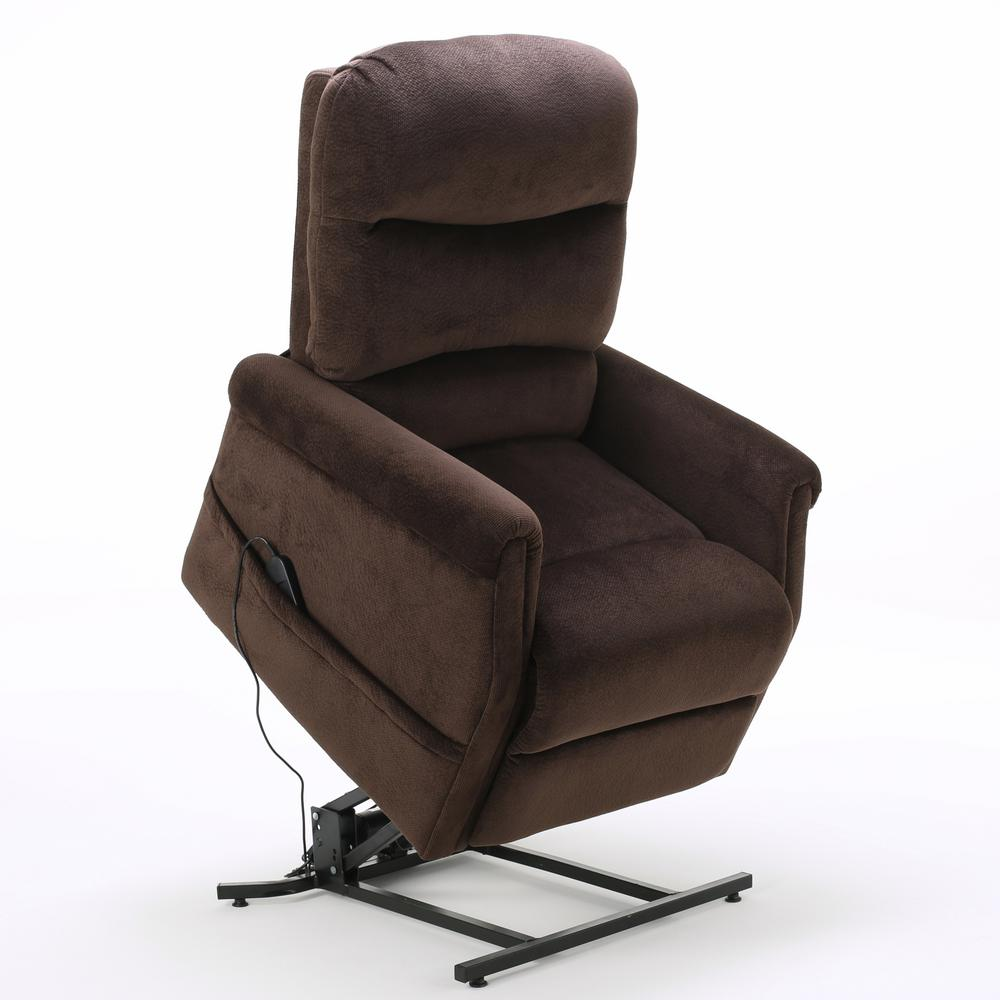 NobleHouse Noble House Halea Chocolate Fabric Lift Up Recliner, Brown