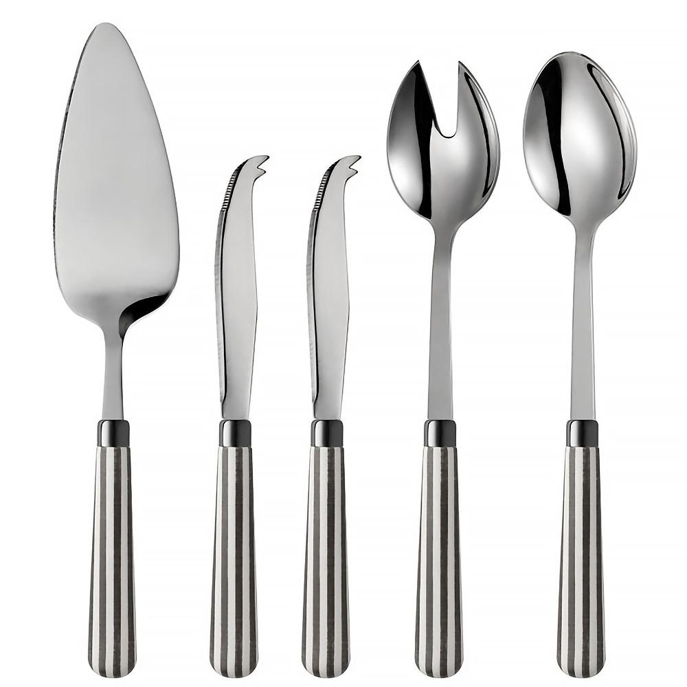 Transatlantic 5-Piece Grey 18/0 Stainless Steel Cheese Knife, Salad Server and