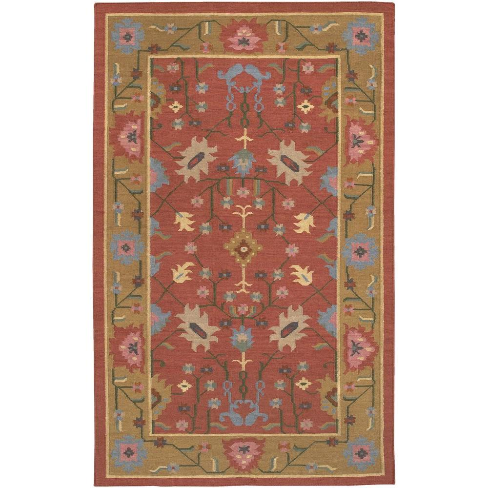 Chandra Kilim Red/Brown/Blue/Pink 7 ft. 9 in. x 10 ft. 6 in. Indoor Area Rug