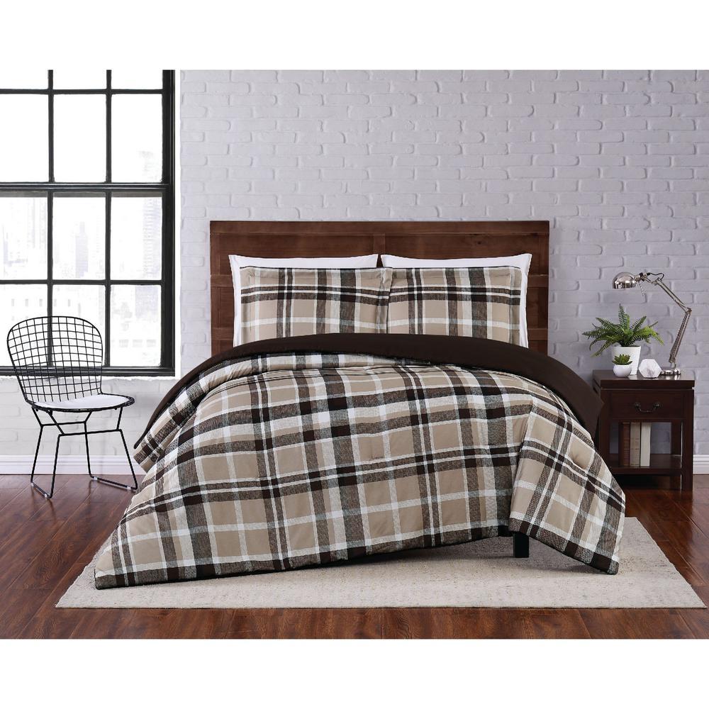 Paulette Plaid Taupe Twin XL 2-Piece Comforter Set