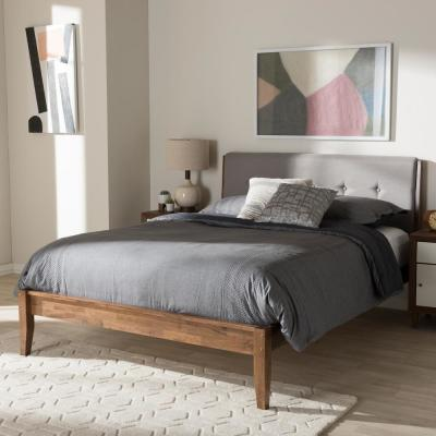 Leyton Mid-Century Gray Fabric Upholstered Queen Size Bed