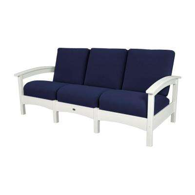 Rockport Club Classic White Patio Sofa with Navy Cushion