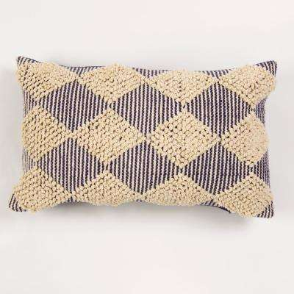 American Colors Handwoven Raised Diamond Navy Textured Pillow