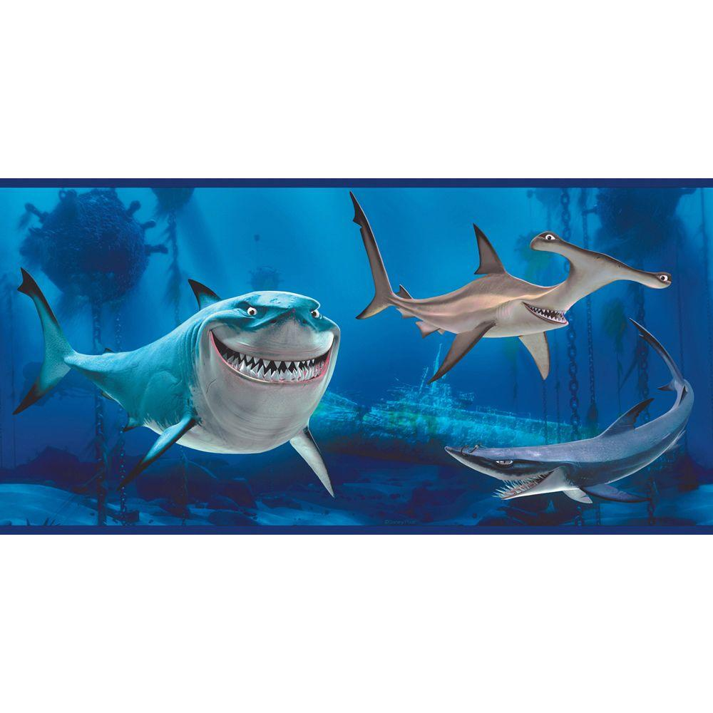 Disney 10.25 in. x 15 ft. Bright Blue Finding Nemo Shark Border-DISCONTINUED