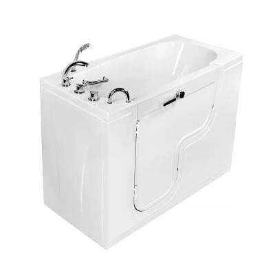 Wheelchair Transfer 60 in. Acrylic Walk in Soaking Tub in White with Thermostatic Faucet Set and Left 2 in. Dual Drain
