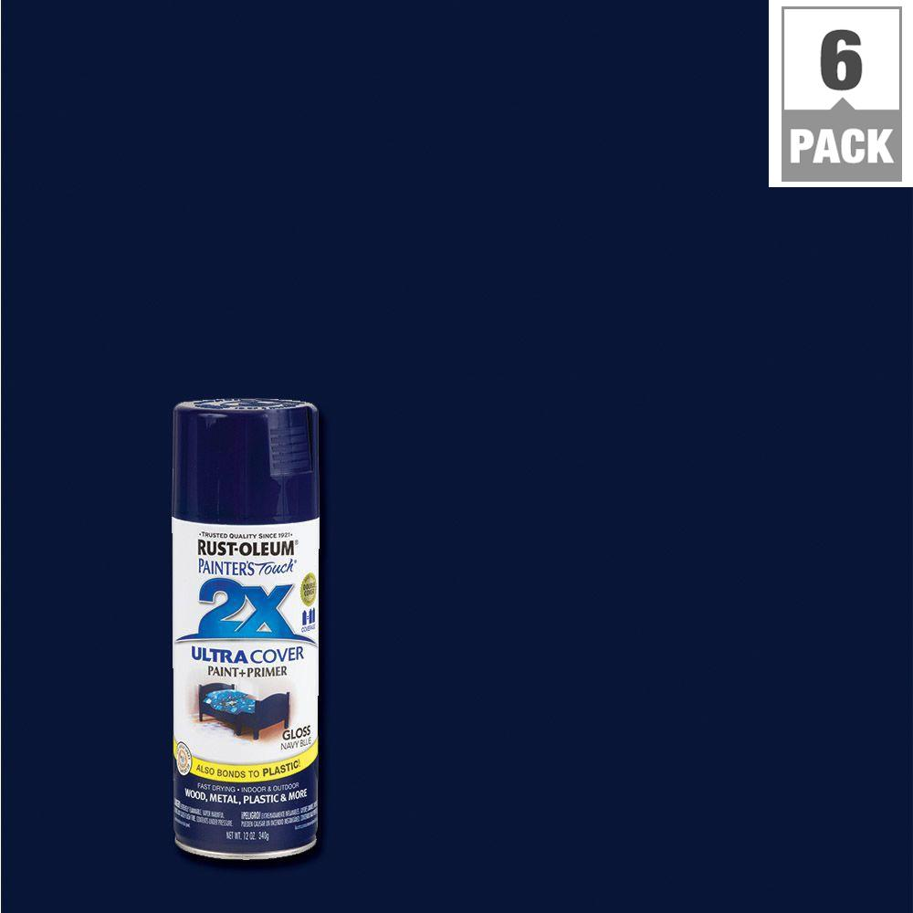 Midnight blue acrylic enamel paint kit auto paint car - Rust Oleum Painter S Touch 2x 12 Oz Gloss Navy Blue General Purpose Spray Paint