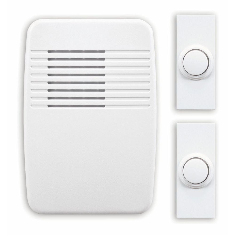 Heath Zenith Wireless White Plug-In Door Chime Kit With 2 Push Buttons