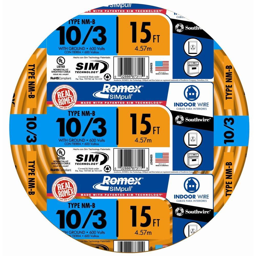 15 ft. 10/3 Solid Romex SIMpull CU NM-B W/G Wire