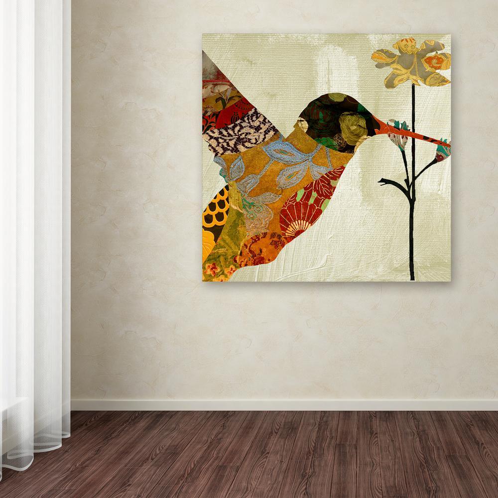 "35 in. x 35 in. ""Hummingbird Brocade III"" by Color Bakery Printed Canvas Wall Art"
