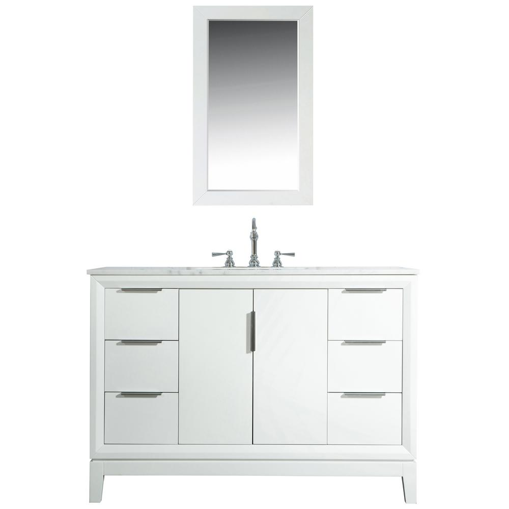 Water Creation Elizabeth 48 in. Bath Vanity in Pure White with Carrara White Marble Vanity Top with Ceramics White Basins and Faucet