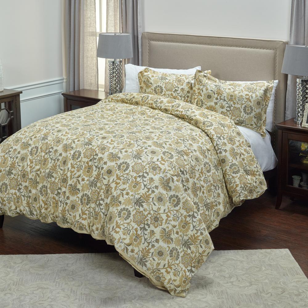 Tan Floral Pattern 3-Piece King Bed Set