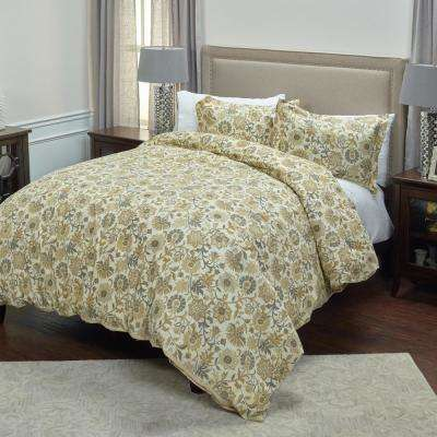 Tan Floral Pattern 3-Piece Queen Bed Set
