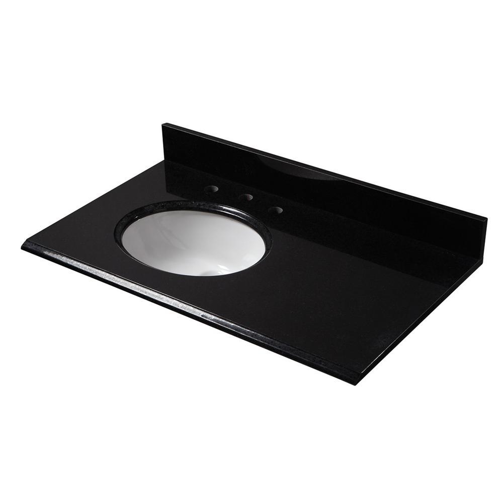 37 in. W x 22 in. D Granite Vanity Top in Black with Left Off-set White Basin