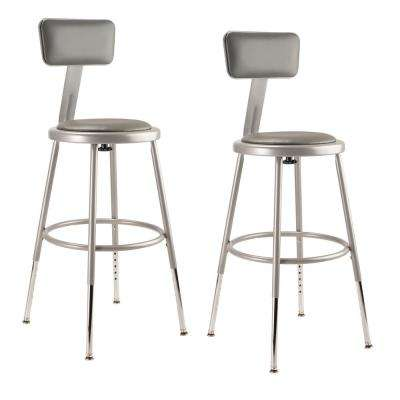 National Public Seating 19 In 27 In Height Adjustable Grey Heavy Duty Vinyl Padded Steel Stool With Backrest 2 Pack 6418hb 2 The Home Depot
