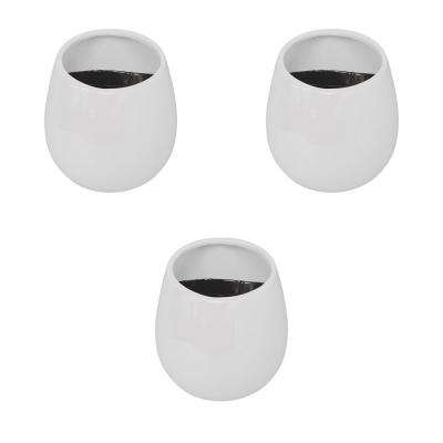 Round 3-1/2 in. x 4 in. Gloss White Ceramic Wall Planter (3-Piece)