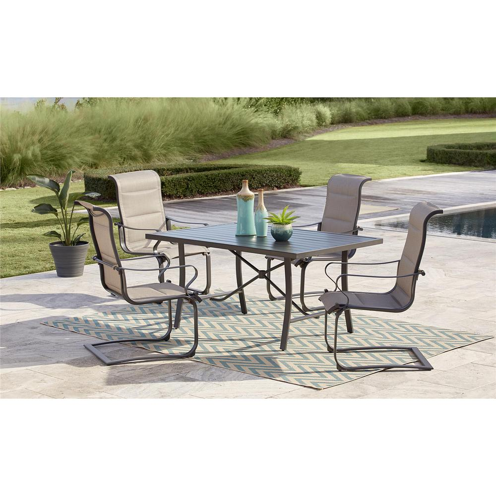 a78075b800e5 Cosco SmartConnect 5-Piece Steel Outdoor Dining Set with Padded Sling Motion  Chairs