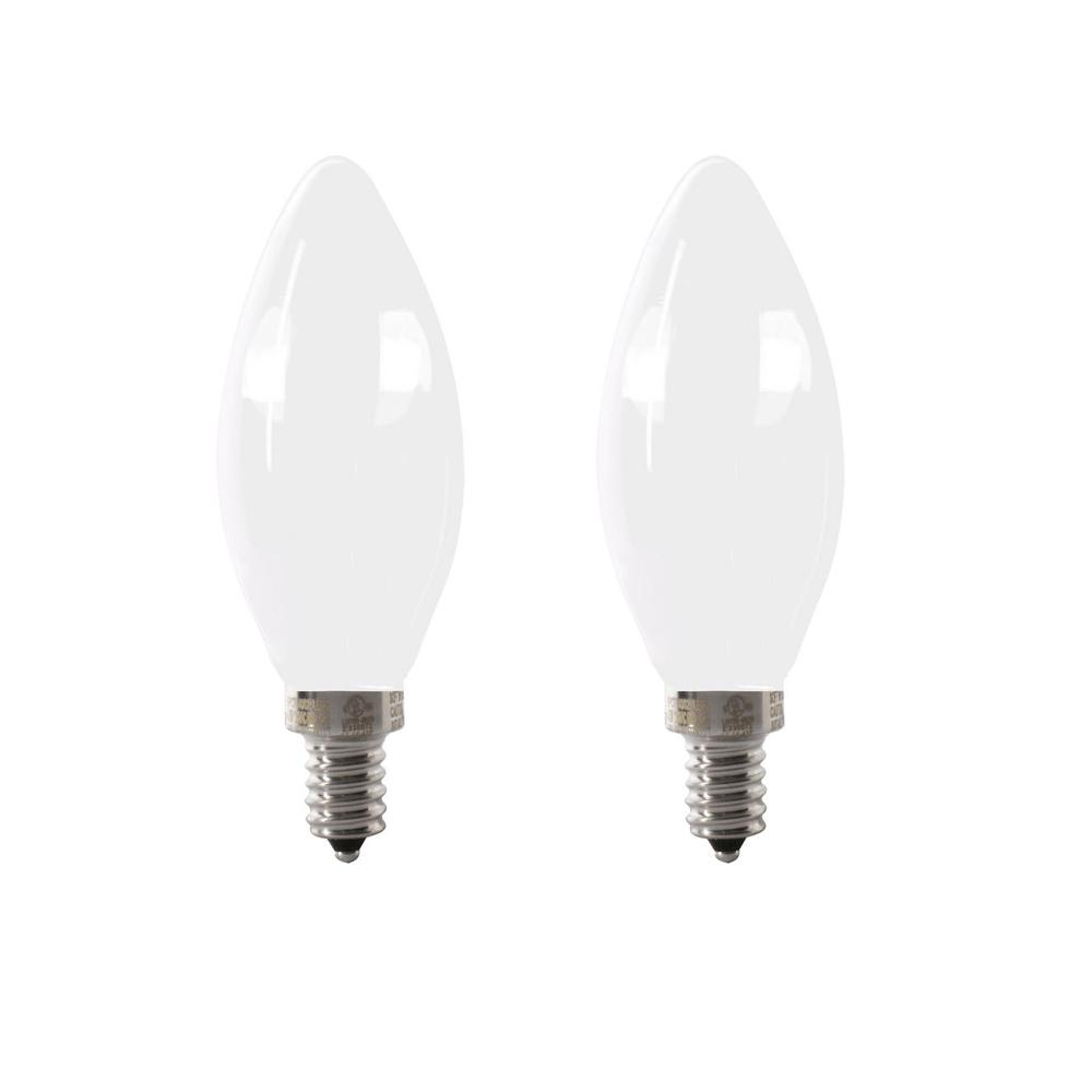 Feit Electric 40-Watt Equivalent B10 Candelabra Dimmable Filament CEC Frosted Glass Chandelier LED Light Bulb, Daylight (2-Pack)