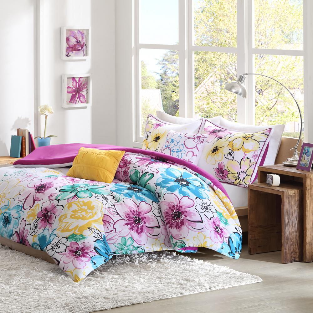 Ashley 5-Piece Blue Full/Queen Floral Comforter Set