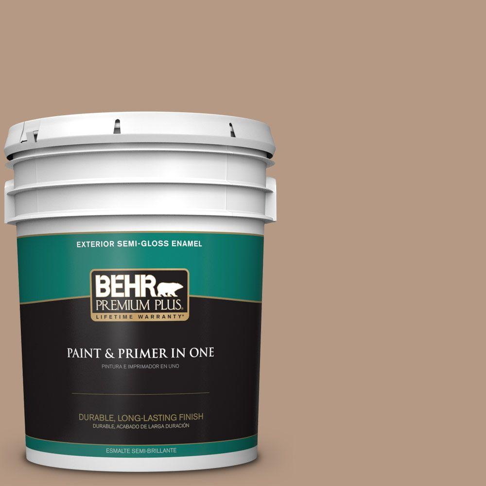 BEHR Premium Plus 5-gal. #250F-4 Stone Brown Semi-Gloss Enamel Exterior Paint