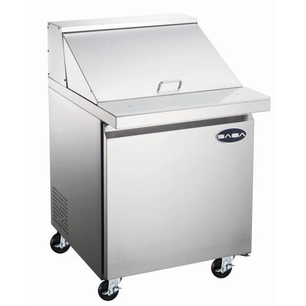 Saba 27 5 In W 5 7 Cu Ft Commercial Mega Food Prep Table Refrigerator In Stainless Steel Sps 27 12m The Home Depot