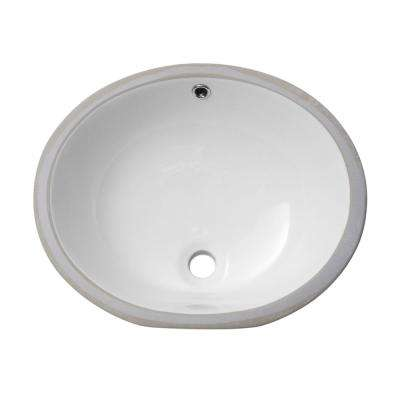 19 in. Undermount Bathroom Sink Modern Oval Porcelain Ceramic Lavatory Vanity Bathroom Vessel Sink in Pure White