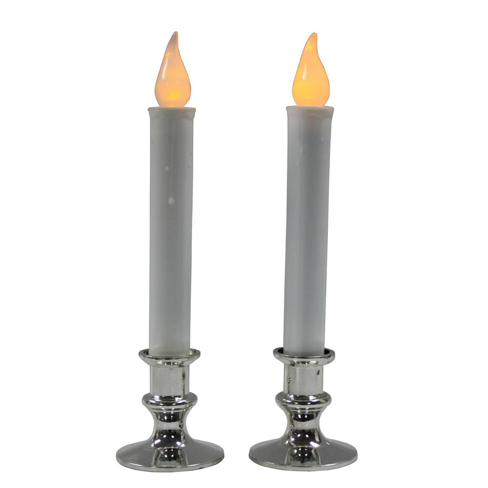 Christmas candles for windows battery operated - Battery Operated Candles With Silver Base Set Of 2