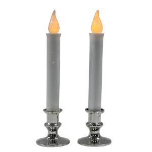 9 in. Battery Operated Candles with Silver Base (Set of 2)