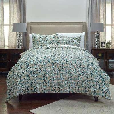 Teal Vining Floral Pattern 3-Piece Queen Bed Set