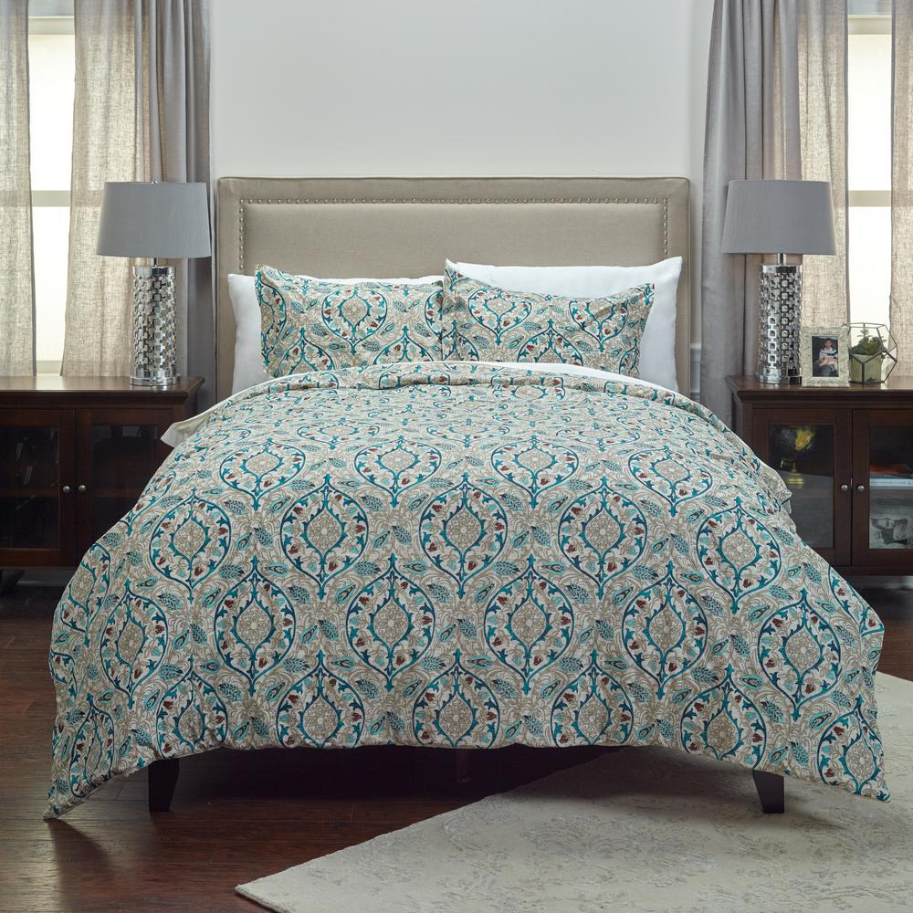 Teal Vining Floral Pattern 3-Piece King Bed Set