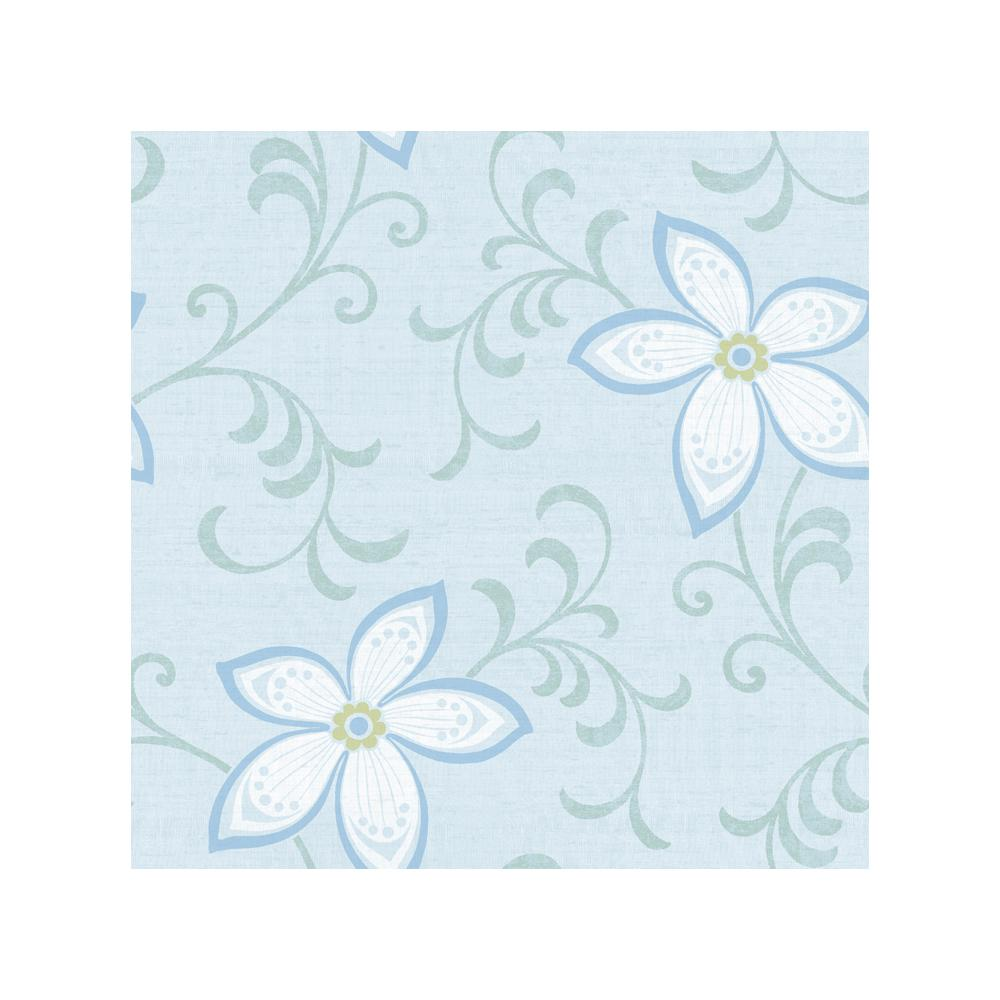 Chesapeake Khloe Light Blue Girly Floral Scroll Wallpaper Chr11635