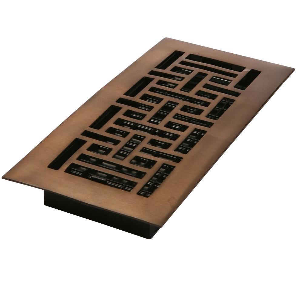 4 in. x 12 in. Oil-Rubbed Bronze Solid Brass Oriental Floor Register