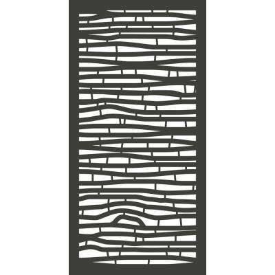 4 ft. x 2 ft. Charcoal Gray Modinex Decorative Composite Fence Panel in Bamboo Design